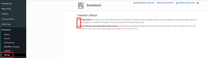 Clover Stock Settings