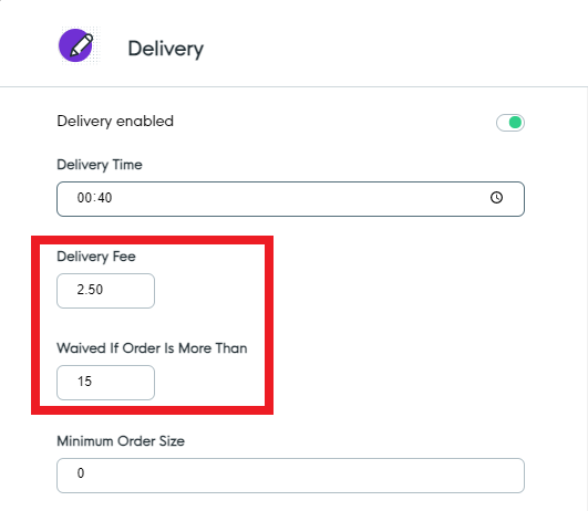 Delivery Fees