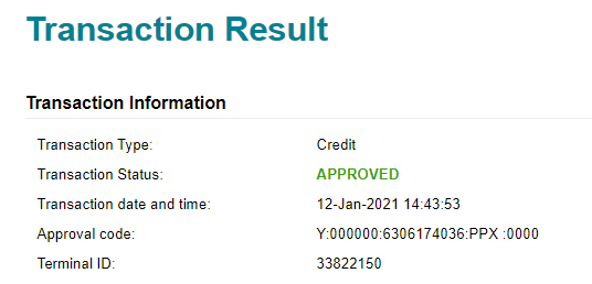Transaction Result